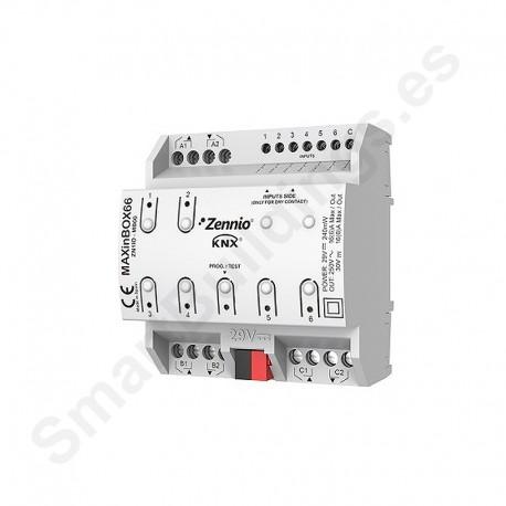 MAXinBOX 66. Actuador 6 salidas 16A y 6 entradas A/D KNX multifunción