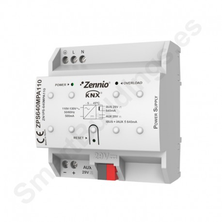 Fuente alimentación KNX 640mA con fuente auxiliar 29VDC. Vin: 110VAC