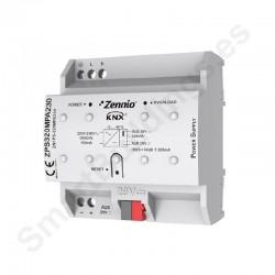 Fuente alimentación KNX 320mA con fuente auxiliar 29VDC. Vin: 230VAC
